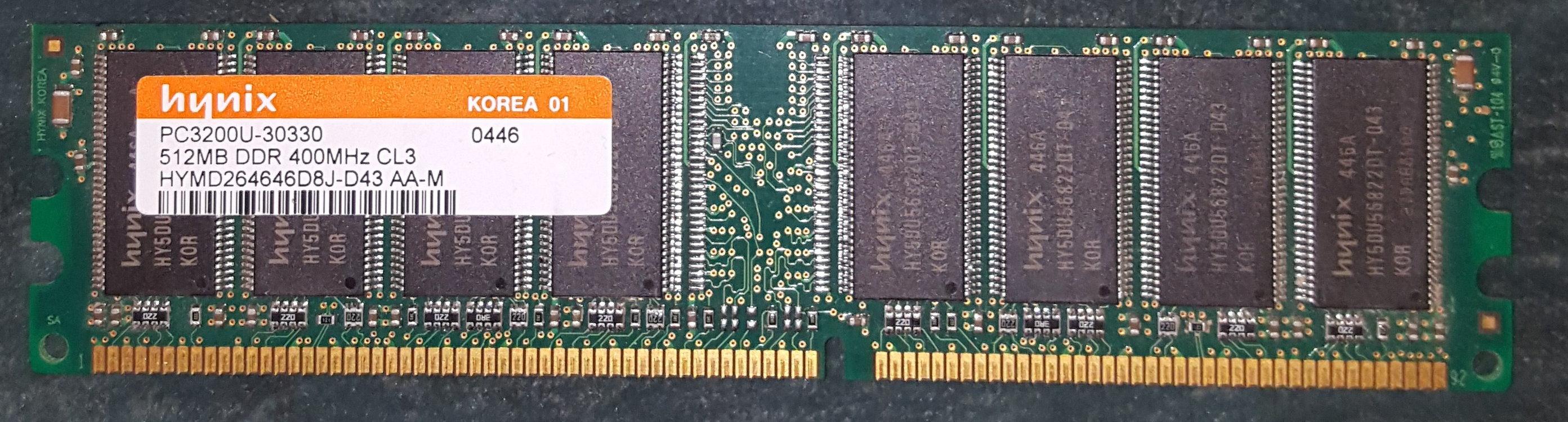 Hynix 512 Mb DDR 400 Mhz PC3200U-30330 CL3 HYMD264646D8J-D43 AA-M – Occasion