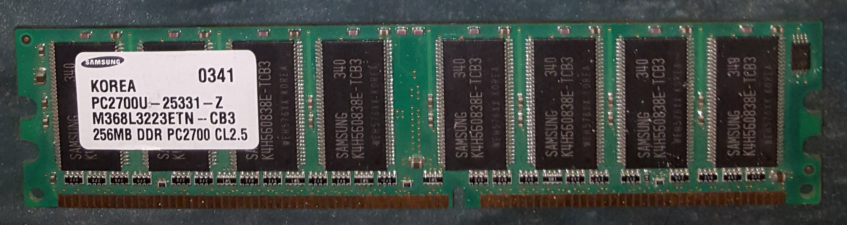 Samsung 256 Mb DDR 333 Mhz PC2700U-25331-Z M368L3223ETN-CB3 CL2.5 DIMM – Occasion