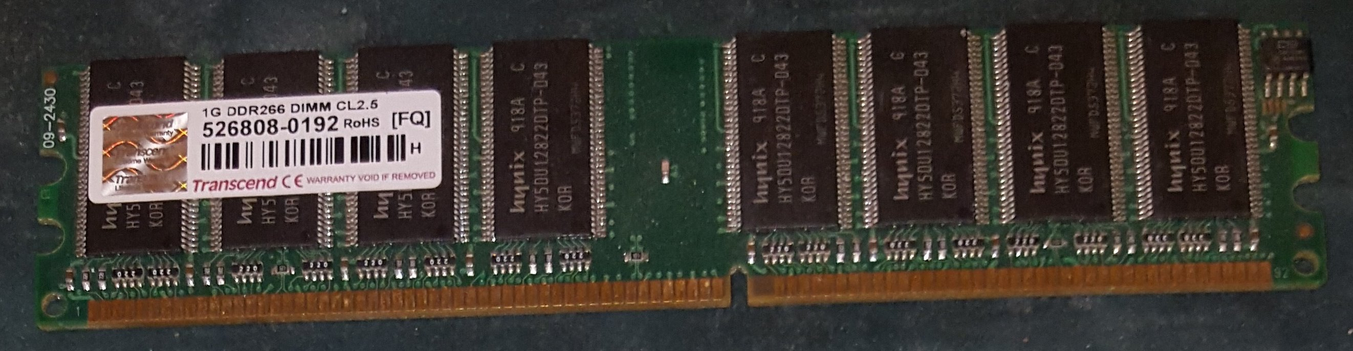 Transcend 1 Gb DDR 266 Mhz PC2100 DIMM CL2.5 puces Hynix – Neuf